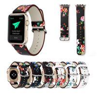 flor da faixa de relógio de couro venda por atacado-Estilo nacional Floral Impresso Pulseira de Relógio de Couro para Apple Watch Flower Design Relógio de Pulso Pulseira para iwatch 38mm / 42mm