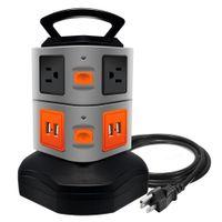 güç kablosu kablosu toptan satış-6 Şarj Kablosu ile 6 Çıkış Dalgalanma Koruyucu Güç Şeridi 4 Port USB Şarj Portları Standı