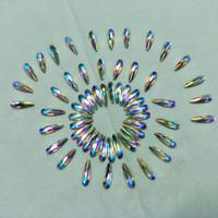 ingrosso chiodo di caduta della decorazione-Strass per nail art per pietre di cristallo per unghie Decorazione fai da te 3D Flatback Glue On Gems Color AB Drop Triangolo ovale