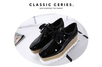 Marque Noir Miroir Plat Plate-Forme Chaussures Femme Dentelle-Up Toe Oxford Chaussures Femmes Sneakers Plate-Forme Automne Mode Creepers