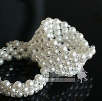 Wholesale Cheap Statement Necklaces For Women - Cheap Fashion Girls jewelry Full Pears Rhinestone Chokers Necklace For Women Silver Jewelry Colored Diamond Statement Children's bracelets