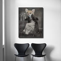 arte de la pared lienzo vino panel al por mayor-1 Panel Cabeza de Perro Mujer sosteniendo una Copa de Vino Impresión en Lienzo Cartel de Arte de la Pared e Impresión para la Sala de estar Decoración Sin Marco