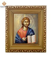 Wholesale painting jesus christ - 2016 high quality Discounte photo frames russian orthodox religious lcon of christ jesus byzantine painting wood crafts