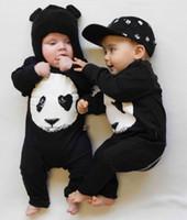 vêtements bébé fille panda achat en gros de-Nouvel automne bébé barboteuses mode coton noir à manches longues panda impression bébé nouveau-né garçons et filles vêtements vêtements pour bébés