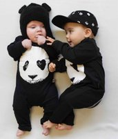 bebek panda giysileri toptan satış-Yeni sonbahar bebek tulum moda pamuk siyah uzun kollu panda baskı yenidoğan bebek erkek ve kız giysileri bebek giyim