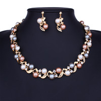 Wholesale diamonds pearls necklace sets for sale - Group buy pearl beaded jewelry sets diamond crystal necklace earrings lady evening dress wedding bride noble jewelry two colors golden and silver