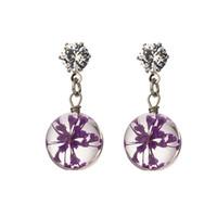 ingrosso fiori secchi rossi-Suteyi rosa blu rosso viola fiori secchi orecchini moda brillante pendente di vetro moda orecchini di goccia per le donne ragazza gioielli