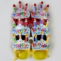 ingrosso occhiali per candele-2018 hot sales mix 4 colori Bar Party glasses Fai una strana candela da spettacolo HAPPY BRITHDAY glasses Adatta ad adulti e bambini