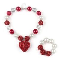 kırmızı boncuk setleri toptan satış-DIY Bubblegum Çocuklar Boncuk Kolye Bilezik Setleri Kırmızı Kalp Charms Kolye Ile Bebek Kız için Rhinestone Takı Seti