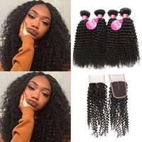 Wholesale 22 Inch Curly Weave Cheap - Meetu 8A Mink Brazilian Curly Virgin Hair 4 Bundles With Lace Closure Good Cheap Brazilian Kinky Curly Human Hair Weave Bundles With Closure