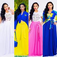 sarı elbiseler pilili toptan satış-2018 Yaz Sonbahar Uzun Şifon Yüksek Bel Kadın Etekler Kanat ile Zarif Plise Bir çizgi Kat Uzunluk Rahat Elbise Beyaz Sarı Mavi Fuşya