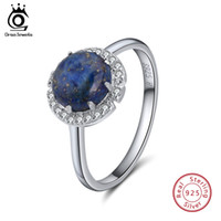 Wholesale lapis lazuli ring silver - ORSA JEWELS Authentic 925 Sterling Silver Rings For Women Lapis Lazuli Pave Setting AAA Cubic Zircon Party Ring Jewelry SR55-L