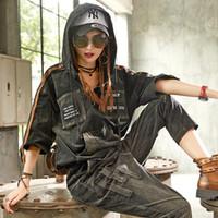 koreanische marke trainingsanzug großhandel-Casual Luxus Koreanische Marke 2 Stücke Mädchen Punk Style Streetwear Frauen Denim Trainingsanzug Set Frau Jeans Trainingsanzug Plus Größe Weiblich