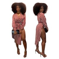 Wholesale Long Asymmetrical Stripe Dresses - 2018 dress tops Europe and the United States printed stripes cross sexy shirt dress Casual Dresses Blouses loose long sleeved T shirt dresse