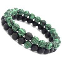 europa-perlen-art und weisearmband großhandel-Europa und die vereinigten staaten 8mm schwarz matt stein malachit paar heilung balance perlen yoga armband modeschmuck