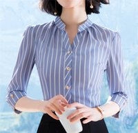 Wholesale striped formal blouse women - 2018 Summer women Blouse Striped Chiffon Office Shirts 3 4 sleeve V neck tops business shirts blouse
