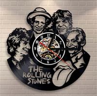 Wholesale wall stone - The Rolling Stones Element Creative Vinyl Quartz Wall Clock Home Decor Room Wall Art (Size: 12 inches, Color: Black)