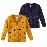 Wholesale computer hearts online - Heart Design Baby Girl Coat Cardigan Autumn Spring V Neck Cardigan Sweater Long Sleeve Fashion Kids Knitting Cardigans