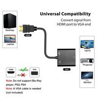 usb hdmi conversor full hd al por mayor-Full HD 1080p video chapado en oro HDMI al convertidor de adaptador VGA con 3.5 mm Audio Micro USB para proyector de monitor HDTV de la computadora portátil
