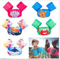 Wholesale ring jackets - 7 design Swimming Arm Floating Life Jacket inflatable Animal print cartoon vest Arm Ring Inflatable Safety Arm Floats Bands Rings KKA5058