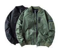 casacos de exército para homens venda por atacado-Moda Bombardeiro Casacos para Homens M-4XL MA1 Casacos Pretos Exército Piloto Verde Casacos Normal e Grosso