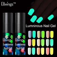 barniz fluorescente al por mayor-Ellwings Fluorescent Neon Luminous Gel Uñas Polish Soak Off UV Gel Glow en Dark Varnish Color Change Nail
