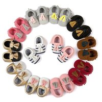 Wholesale Stripe Bow Shoes - 12 Color Baby stripe paillette moccasins soft sole PU leather first walker shoes children newborn Tassels maccasions bow shoes