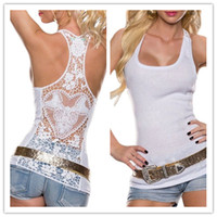 Wholesale Crochet Tank Tops - 2018 Summer Womens Lace Vest Tops Sexy Sleeveless Tank Tee Crochet Back Hollow-out Woman Pink Tank Camisole Lace Black & White Waistcoat