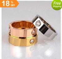 Wholesale Titanium Couple Ring Black - 2018 Hot sale Titanium Stainless Steel Love Rings for Women Men jewelry Couples Cubic Zirconia Wedding Rings Logo Bague Femme 6mm