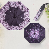 Wholesale Cherries Coat - Cherry Blossom Automatic 3-folding Umbrella Rain Women black coating anti-uv Sakura Flower print Umbrella Rain Tools Sun Parasol
