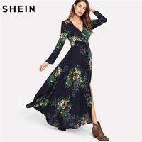 maxi çok renkli elbiseler toptan satış-SHEIN Çiçek Elbiseler Püskül Bağlı Büzgülü Bel Düğme Ön Maxi Elbise Renkli Uzun Kollu V Boyun Bir Çizgi Vacacion Elbiseler