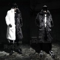 Wholesale Fox Fur Strips - Men long faux fur coats Splice winter Fox fur Fashion thickening lapel Multi-size jackets Schwarzen Pelzmantel Free shipping