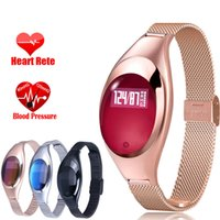 pulso assistir mulheres venda por atacado-Z18 Pulseira Inteligente Moda Android IOS Relógios de Pressão Arterial de Oxigênio Freqüência Cardíaca Monitor de Pulso De Fitness Rastreador Mulheres relógio Inteligente Na Caixa