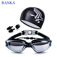 Wholesale glass swimming - Swimming Goggles With Hat +Ear Plug +Nose Clip +Case ,Waterproof Swim Glasses Anti -Fog Uv Professional Sport Swim Eyewear Suit