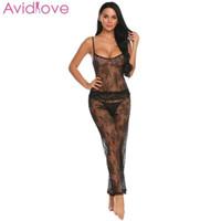 pijama bikini seksi toptan satış-Avidlove Kadınlar Sexy Lingerie Set Seks Dükkanı Şeffaf Bikini Egzotik Bodysuit Cami Sheer Set Üst Uzun Pantolon Dantel Pijama S18101509