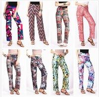 bloomers harem pants toptan satış-Geniş Bacak Pantolon Yüksek Bel Bloomers Kadınlar Baskı Flare Pantolon Moda Rahat Kapriler Baggy Pantolon Moda Harem Pantolon KKA3996