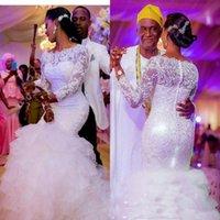 длинные платья из органзы оптовых-Sheer кружева свадебные платья с длинными рукавами 3D - цветочные аппликации бисер многоуровневая органза оборками юбка Русалка плюс размер женщины свадебное платье
