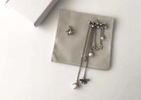 Wholesale Box Heart Designs - Asymmetrical stars bee tassel earrings for lady Cd BRAND Logo Fashion Design Women Party Wedding CD-logo Luxury Imitation Jewelry with box.