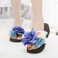 dama zapatos de verano jalea al por mayor-Eco-friendly de verano de los deslizadores de las mujeres de moda chanclas de playa sandalias de la plataforma de las señoras de flores hechas a mano zapatos de cuña de la jalea