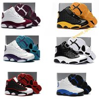 Wholesale Yellow Canvas Shoes Kids Boys - Kids Air Retro 13 Grey Pink Black White Boys girls youth Basketball shoes Sports Training J13s Children Sneakers Size: US11C-3Y EU28-35