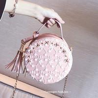 ingrosso sacchetto di crossbody del merletto nero-La nuova versione coreana di mini pizzo fiore nappina piccola borsa tonda o borsetta a tracolla oblique nera beige rosa