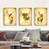 ingrosso dipinti alce-2018 Nordic Abstract Gold Elk Canvas Dipinti Noble Art Print parete Dipinti Per Soggiorno cucina Arredamento