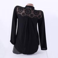 bayanlar siyah polyester bluz toptan satış-
