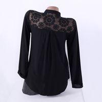 siyah çalışma bluzları toptan satış-Kadınlar Siyah Dantel Bluzlar 2018 Sonbahar Kadın Gömlek V Boyun Uzun Kollu Hollow Casual Gevşek Bayanlar Çalışma Ofisi Blusa Artı Boyutu Tops