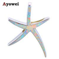 ожерелье из опалового золота оптовых-Ayowei Gorgeous Starfish Design White Fire Opal 925 Silver Party Fashion Jewelry Necklace Pendants for Women OPS682A