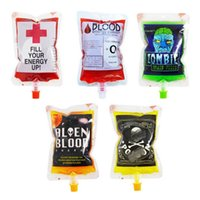 Wholesale event cosplay online - 250ml Halloween cosplay Blood Bag Juice Energy Drink Bag Halloween event Party supplies Pouch Props Vampires Reusable Package WITHOUT liquid