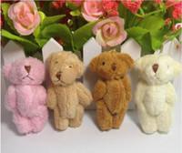Wholesale teddy pendant chain - Wholesale-6cm Plush Mini Teddy Bear Long Wool Small Bear Stuffed Animals Toys Plush Pendants For Key chain Bouquet 4color