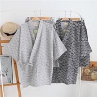 ingrosso yukata-Kimono stile primavera Pigiama Set con pantaloni corti Maniche corte in cotone Tradizionale Yukata Sleepwear Giapponese Loungewear 062402