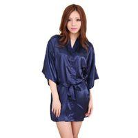 7df29eb242 Navy Blue Women Silk Mini Robe Dress Chinese Style Pajamas Lingerie Sexy  Kimono Yukata Bath Gown Size S M L XL XXL NR106