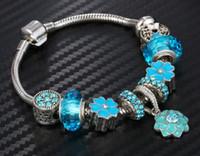 gizli takılar toptan satış-Hotsale Fabrika Murano Cam Charms Bilezik, Stoper boncuk yılan zinciri, gizli emniyet-toka ile unisex mavi bilezikler charms